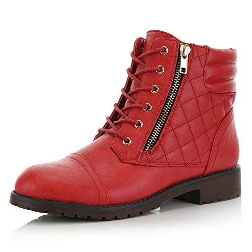 Leather Buckle Boot - DailyShoes Women's Military Lace Up Buckle Combat Boots Ankle High Exclusive Credit Card Pocket, Red Pu, 7