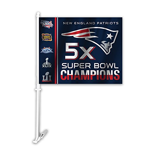 NFL New England Patriots Super Bowl 51 5X Champions Car Flag