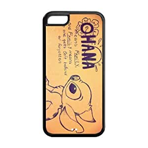 TYHde TPU iPhone 5/5s Case,Lilo & Stitch Ohana Design Fashion Pattern Hard Back Cover Snap on Case for iPhone 5/5s (Black/white) ending
