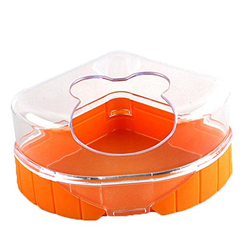 (Large Capacity Orange Hamster Bath House Bath Sand Room Restroom with Single Hole Easy to Enter)