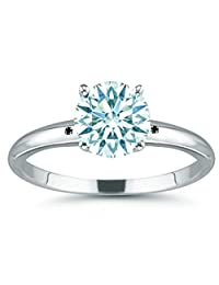 RINGJEWEL 2.51 ct VS1 Round Moissanite Solitaire Silver Plated Engagement Ring Ice White Color Size 7