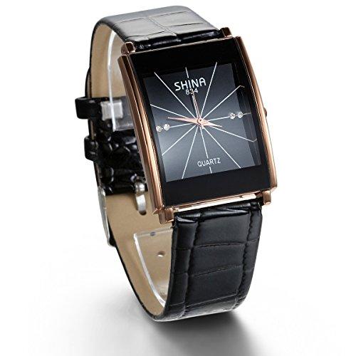 JewelryWe Men's Rhinestone Accented Gold-Tone Black Leather Square Strap Watch