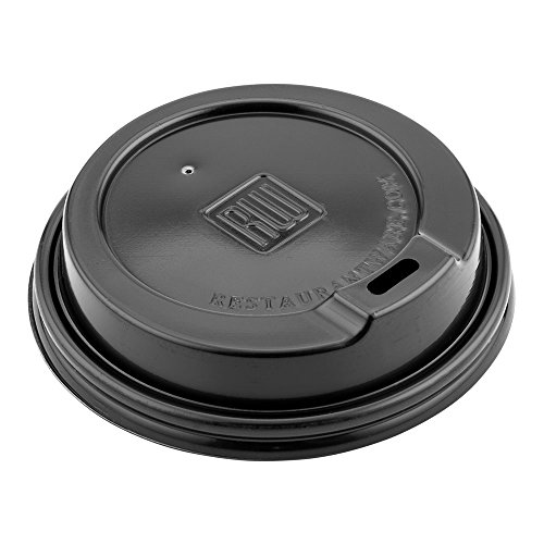 50-CT Disposable Black Lid for Coffee and Tea Cups - Fits 8-OZ, 12-OZ and 16-OZ Cups: Perfect for Coffee Shops, Juice Shops, and Restaurant Takeout - Recyclable Polystyrene Cup Lid - Restaurantware ()