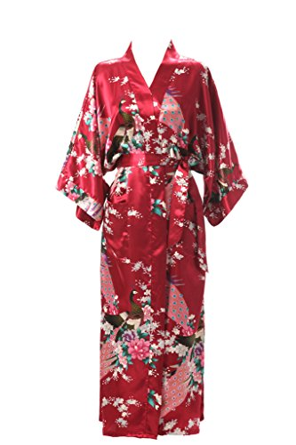 J.ROBE Women's Kimono Robe Long Printed Lotus Kimono Robe Silk with Pockets