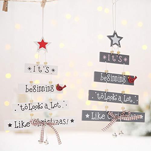 KOKOBUY 1pcs Wood Letter Christmas Tree Hanging Ornaments DIY Home Party Festival Decoration