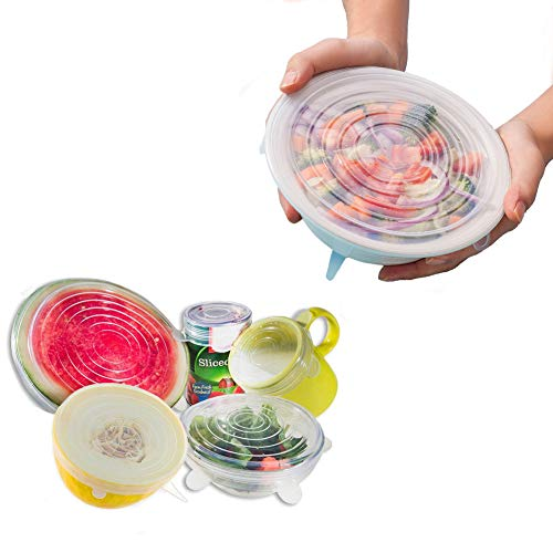 Amsuper-Kitchen Stretch Lids,6-Pack Reusable,Durable and Flexible Silicone Covers for Bowl, Can, Jar and Glassware FDA Approved, ()
