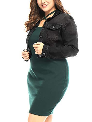 uxcell Women's Plus Size Button Closed Cropped Denim Jacket Black 1X