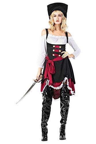 Fanituhan 海賊 コスプレ カリビアン コスチューム ハロウィン 仮装 パーティ 衣装 4点セット レディース 女性 フリーサイズ M