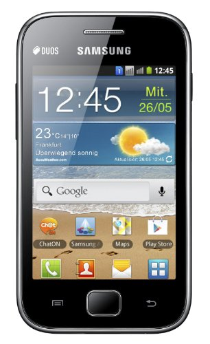 Samsung Galaxy Ace DUOS S6802 Unlocked GSM Phone with Dual SIM, Android 2.3 OS, Touchscreen, 5MP Camera, Video, GPS, Wi-Fi, Bluetooth, FM Radio, MP3/MP4 Player and microSD Slot - Black