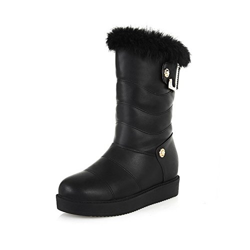 with 5 Heels Black Solid Closed Nail M Round PU B Soft Metal AmoonyFashionWomens Low US Toe Boots Material wvIwf6