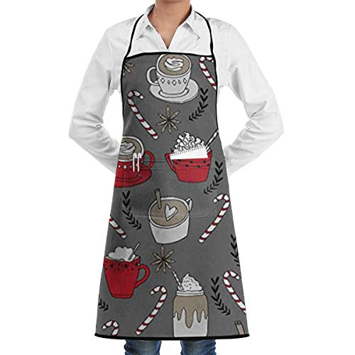MobaiLon kitchen aprons, Hot Chocolate Christmas Peppermint Latte Adjustable Kitchen Chef Apron with Pocket and Extra Long Ties Commercial Men & Women Bib Apron for Cooking Baking Gardening