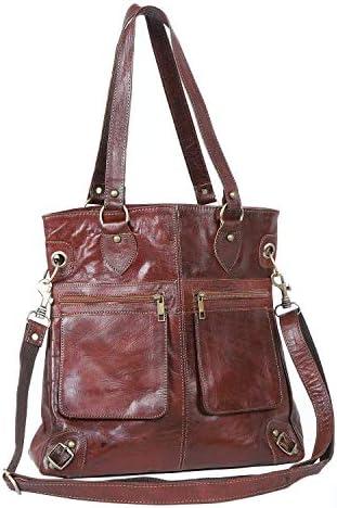 Casa Moro Shopper JCM52 - Bolso de piel con cremallera, color marrón