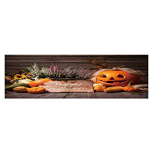 Dragonhome Background Fish Tank Decorations Halloween Still Life with Pumpkins and Halloween Holiday Text PVC Paper Cling Decals Sticker L23.6 x H19.6 -