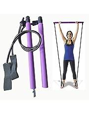 SturdCelleau Pilates Resistance Band, Portable Pilates Bar Kit for Home Gym, Pilates Total Body Workout, Yoga, Fitness, Stretch, Sculpt, Burn Calories & Fat (Purple)