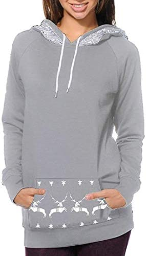 女性パーカーかわいいプルオーバー鹿プリントスウェットシャツ Black US Medium