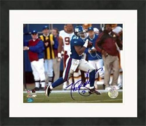 Tiki Barber Signed Photograph - 8x10 All Time Leading Rusher) #10 Matted & Framed - Autographed NFL Photos