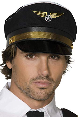 Pilot Black Cap Costume Accessory ()