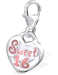 "Best Wing Jewelry .925 Sterling Silver Clip-on ""Sweet 16"" Dangle Charm Pendant"