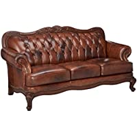 Coaster Home Furnishings  Victoria Traditional Rolled Arm Tufted Stationary Three Seater Sofa - Tri-tone Brown Top Grain Leather