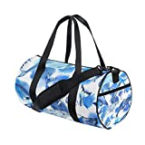 Sea Whale Yoga Sports Gym Duffle Bags Tote Sling Travel Bag Patterned Canvas with Pocket and Zipper For Men Women Bag