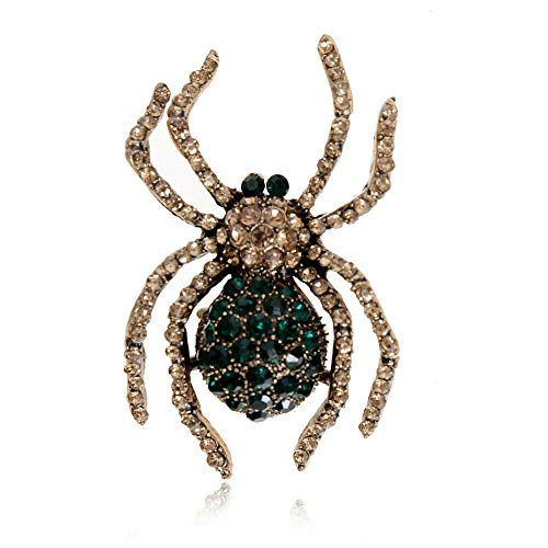 Womens Delicate Little Bee Insect Crystal Rhinestone Collar Brooch Pin Jewelry | StyleID - 22#_Green