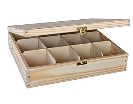 Plain Large Wooden Tea Box 12 Compartments Decoupage Art Craft
