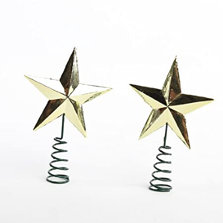5fea0aa0df9d Miniature Christmas Tree Star Toppers on Springs in Metallic Gold- Package  of 12: Amazon.co.uk: Kitchen & Home