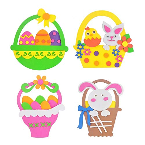 - qiaoniuniu Easter Baskets Craft Kits with Eggs Bunny Chick Decoration, Easter Craft Hobby Supplies for Kids - 4 Packages