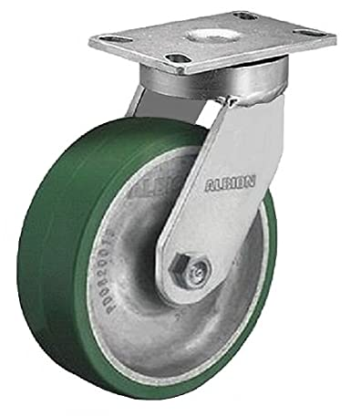 "Albion 300PD08409SLP 8"" Polyurethane on Aluminum Kingpinless Swivel Caster, Lock and Cam Brake, Tapered Roller Bearing, 2-1/2"" Wide Tread, 6-1/4"" x 4-1/2"" Base Plate 2010 lb. Capacity"