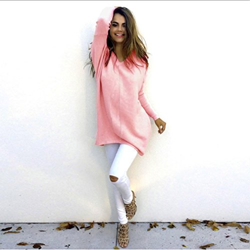 Pullover Sweater Rose Hiver Femmes Longues Automne Kingwo Loose Chandail 0wYfxq8