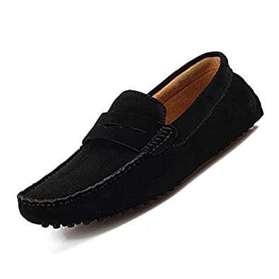 Shenn Mens Minimalism Casual Driving Shoes Suede Leather Loafers