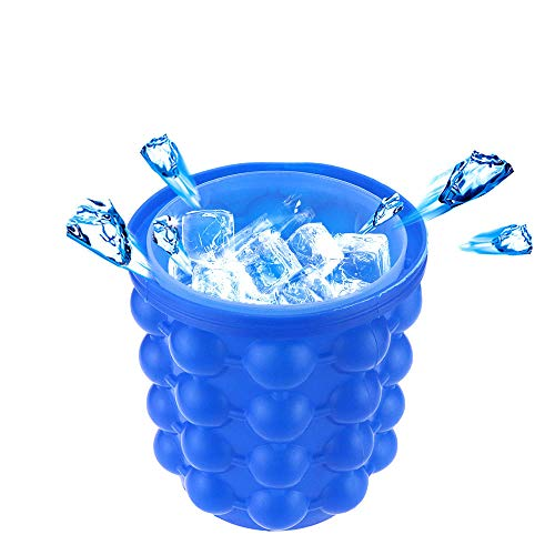 Silicone Ice Bucket 2 in 1 Silicon Magic Ice Cube Maker for Chilling Burbon Whiskey,Cocktail,Beverages,5.5&5.5inch(blue)