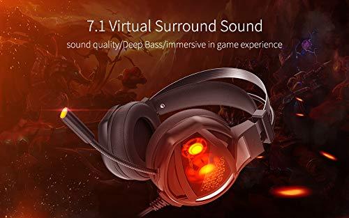 Ranipobo Stereo Gaming Headset, 7.1 Surround Sound USB Computer Kopfhörer mit Mikrofon Noise Cancelling (Schwarz)