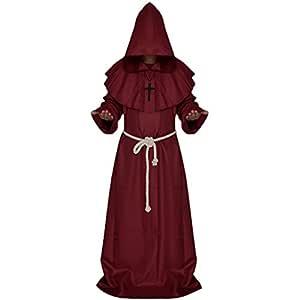 Traje Fraile Medieval Encapuchado Monje Sacerdote Ropa para Disfraz Cosplay Rojo/Café - Rojo, Metro
