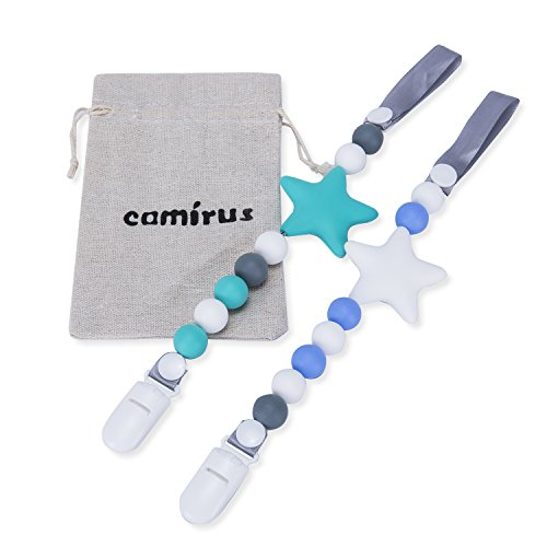 Teether Pacifier Clip, 2 Pack Silicone Pacifier Holder, Unisex Star BPA Free Pacifier Leash Teething Toy with Storage Bag for Boys and Girls Gift Set