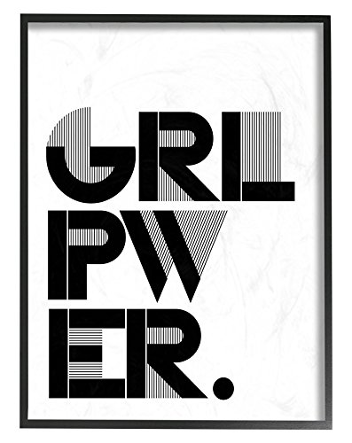 Stupell Home Décor Girl Power Black and White Typography Oversized Framed Giclee Texturized Art, 16 x 1.5 x 20, Proudly Made in USA (Pottery Barn Poster Bed)