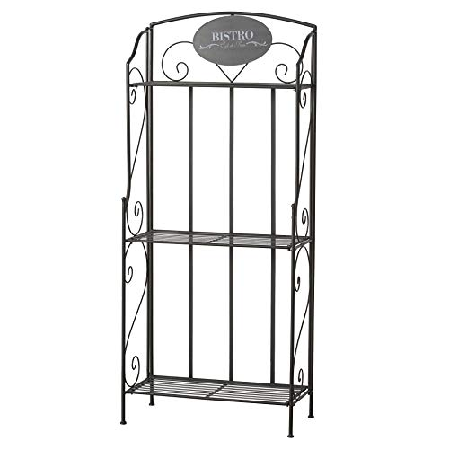 WHW Whole House Worlds Bistro Bakers Rack, 4 Shelves, Black, Iron, Scrolled Details, Foldable, for Indoor and Outdoor Use, 58 Inches Tall