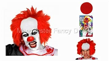 halloween clown wig face paint nose set wear it for halloween fancy dress ilfd