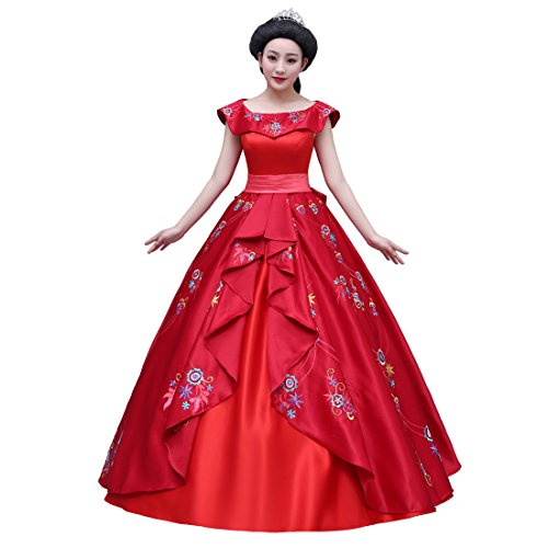 Ainiel Women's Princess Dress Cosplay Costume Adult Red (XL) ()