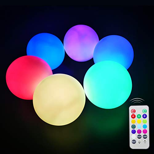 VACTER 6 Pack Flashing LED Ball Light, 3 inch Mood Light Garden Deco Balls Color Changing LED Floating Waterproof Mood Light for Garden Decoration for Pool Pond Party Oration Birthday Holidays Party