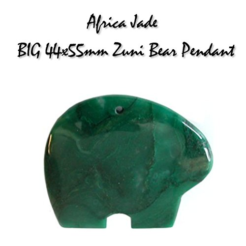African Green Jade BIG 44x55mm Zuni Bear Gemstone Pendant for Jewelry Making or Necklace Green Turquoise Nugget Necklace