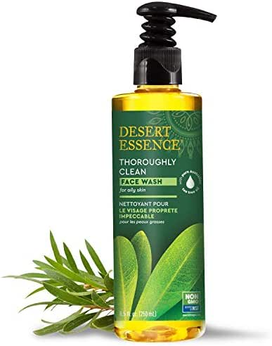 Desert Essence Thoroughly Clean Face Wash - Original - 8.5 Fl Oz - Tea Tree Oil - For Soft Radiant Skin - Gentle Cleanser - Extracts Of Goldenseal, Awapuhi, & Chamomile Essential Oils