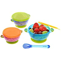 Suction Baby Bowls With Lids - Stay Put 3 Piece Stay Put Stackable Feeding Bo...