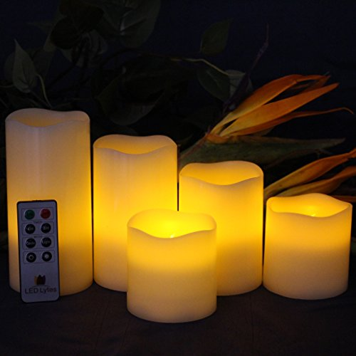LED Lytes Battery Operated Candles - Large Flameless Candles Set of 5 Round Ivory Wax with Flickering Amber Yellow Flame, auto-Off Timer Remote Control Fake Candle by LED Lytes (Image #3)