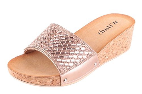 Fashion Sandals SHU Toe Summer CRAZY Wedge Cork Ladies Open Holiday Mules P37 Rose Gold Shoes Slip On Womens OO1qx78rw