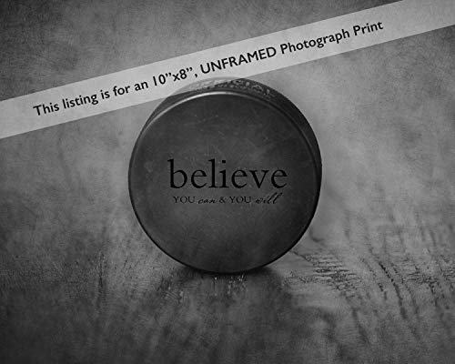 (Black and White Hockey Puck Photograph with Motivational Sports Quote, Wall Art Print)