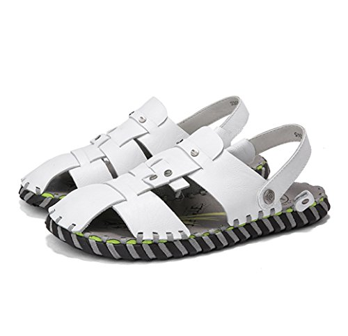 略語成果自分の力ですべてをするメンズレザーサンダルファッション汗吸汗通気性二つの摩耗スリッパサンダル夏のアウトドアハイキング登山カジュアルな運転靴のサンダルZHANGM