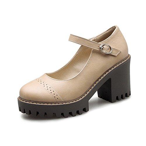 VogueZone009 Femme Rond Boucle Couleur Unie à Talon Haut Chaussures Légeres Abricot dDGGfbM8