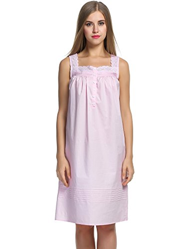 Hotouch Womens Cotton Victorian Nightgowns Romantic Short Sleeveless Nightshirt Pink XXL (Nightgown Pintucked)