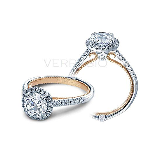 Verragio 1/4 ct. tw. Round Diamond Halo Semi-Mount Engagement Ring with Milgrain Detailing in 18K Two-Tone Gold - - Tone Two Mounting Gold